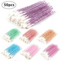 Makyaj fırçaları 50 adet Tek Kullanımlık Kristal Lashes Ruj Parlak Temizleyici Kirpik Fırça Kozmetik Araçları