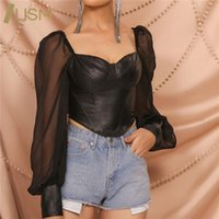 Women's T-Shirt LISM Sexy PU Patchwork Long Sleeve Tops Bustier Corset Bodycon Shirts See-Through Club Faux Leather Women