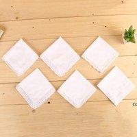 Branco laço fino lenço mulher mulher presentes festa decoração pano guardanapo liso em branco diy lenço 25 * 25cm dhb7944