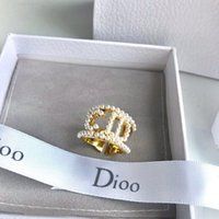 Luxury Designer Ring Gold Pearl Opening Rings Fashion Brand Letter Finger Decoration For Women Female Lady Bride Wedding Engagement Party Jewelry Lover Gift