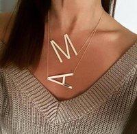 Grands colliers d'or A-Z en acier inoxydable Big Lettre Pendentif Collier Collier Monogram Cadeaux Bijoux