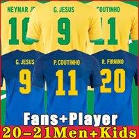 2021 Camiseta de Futbol Paqueta Neres COUTINHO Brazils Football Hemd Firma Jesus Fußball Jersey Marcelo Pele Brasil 20 21 MAILTOT DE FOOT