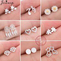 100% 925 Sterling Silver Earrings For Women Girls Cute Star Heart Cat Music Geometric Stud Earing Anti Allergic Kids Gift