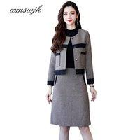 Autumn Winter Fashion Office Lady Elegant Herringbone Short Coat + Skirts Suits Women Blazer Women's Two Piece Pants