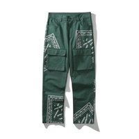 Yüksek 2021 Kiryaquy Erkekler Rahat Lüks Yeşil Paisley West Cips Kanlar Casual Pantolon Kargo Parkour # D14 Erkekler