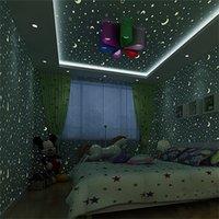 Leuchtende Tapete Rolle Sterne und Mond Jungen und Mädchen Kinderzimmer Schlafzimmer Decke Fluoreszierende Tapetendekor 1983 V2