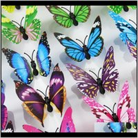 Décor ev bahçe damla teslimat 2021 7 cm 200 adet 3d kelebek dekorasyon simülasyon stereoskopik pvc çıkarılabilir duvar çıkartmaları kelebekler dbc y