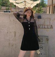 فساتين عادية جعل الشتاء الفرنسي العطور الشاش الأبيض القماش خياطة الخصر تظهر فستان أسود صغير