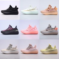Kanye preto cinza carbono v2 knit respirável oeste crianças runing sapatos menino menina juventude kid sneaker sneaker tamanho 26-35
