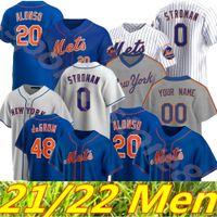 Özel 12 Francisco Lindor Mets Formalar 48 Jacob Degrom Beyzbol 20 Pete Alonso Darryl Çilek Mike Piazza Hernandez Rosario Stroman