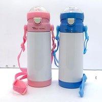 12oz Sublimación Botella de agua en blanco Tazas de vacío para niños Taza de bebida de bricolaje DIY Simple con la cuerda Paja OWB6385