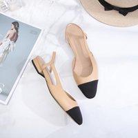 Senhoras Elegante Apointado-dedoinho Sandálias de Salto Quadrado Mulheres Genuíno Couro Flat Sapatos Ao Ar Livre Casual Desigenr Vestido
