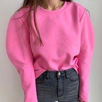 Women's Hoodies & Sweatshirts Hoody Womens Tracksuits Hooded 2021 Autumn Winter Fleece Oversize Solid Jackets Sweatshirt Women Fleeces