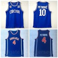 NCAA BC Cibona College 10 4 Drazen Petrovic Jersey Jugoslavija University Basketball Equipe Cor Azul Camisa Respirável para os fãs de esporte Pure algodão de boa qualidade