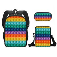 Rainbow Printed Back To School Students Schoolbag Pencil Bags Tie Dye Fashion Kids Boys Grils Backpack Polyester Small Satchel Three Piece Suit G94F7D0