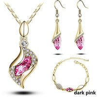 African Beads Gold Silver Color Jewelry Sets For Women Accessories Wedding Bridal Pendant Crystal Necklace Earrings Ring Set &