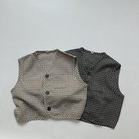 HX INS Quality Korean Forest Style Children Boys Waistcoat Sleeveless Summer Linen Organic Cotton Kids Outwear