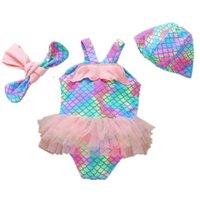 One-Pieces enfants maillots de bain costumes bébé natation fille maillot de bain enfants vêtements sirène plage chapeaux de cas bandeaux 3pcs ensembles de tenues 1-10Y B4958