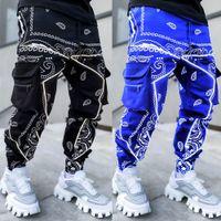 Boglikeu Mens грузовые брюки вскользь спортивный мульти карманный дизайнер Print Harem Hip Hop Jogger брюки