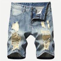 Kimsere мужские разрушенные короткие джинсы с отверстиями мода Hi улица разорванные джинсовые шорты для мужчин лето проблемные шорты мытья1
