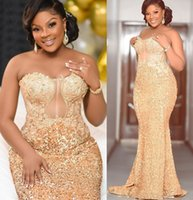 2021 Plus Size Arabic Aso Ebi Mermaid Gold Sexy Prom Dresses Lace Beaded Sequined Sparkly Evening Formal Party Second Reception Bridesmaid Gowns Dress ZJ277