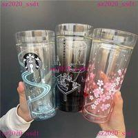580ml Becher Ankunft Starbucks Doumel Schicht Glas Wasser Kaffee Milchtasse Geschenk Produkt Für Freunde