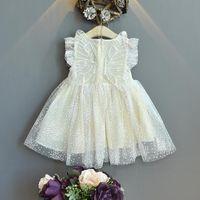 Vestidos menina menoea meninas vestido 2021 verão coreano estilo doce estilo malha simplicidade roupa casual menina princesa
