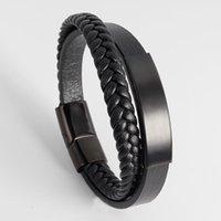 Tennis Titanium Steel Leather Rope Bracelet Men's Stainless Woven Handmake Multilayer