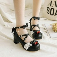 Dress Shoes Pure Color Elegant Cute All-match Mid-heel Leather Student Lolita Women