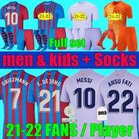 Fans Jogador Versão 2021 2022 Griezmann Messi Kun Aguero Soccer Jerseys Memphis Homens Kits Kits 20 21 22 Ansu Fati F.De Jong Barca Goleiro Camisa de Futebol Set Uniforme
