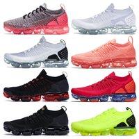 Nik Nk Vapourmax Flynit1.0FlyKnit2.0 Max Air رياضة رياضية الركض ذبابة متماسكة 2 TN زائد أحذية الذهب كل أسود أبيض قبالة الأحمر فولت الجري moc laceless الرجال النساء المدربين