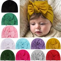 Caps & Hats Baby Girl Solid Velvet Hat With Bow Knotted Headband Turban Cap For Girls Warm Infant Headwear Born Hair Accessories