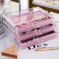 Makeup Organizer Cosmetic Storage Box Transparent Acrylic Desktop Jewelry Display 3 Drawers With Flannel Tray Pouches, Bags
