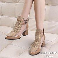 Boots 2021 Sandals Cowhide Genuine Leather Women High Heeeld Mesh Shoes Square Heel Pointed Toe Woman Summer Heels Back Zip