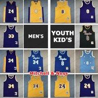 Vintage Mens Youth Kids Mitchell Ness Swingman Jersey Black Mamba 33 32 34 Jersey de basket-ball classique rétro