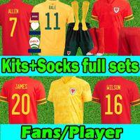 2021 Уэльс Национальная команда Футбол Футбол для футболки Фанаты Версия Euro Cup Cymru Bale Джеймс Джерси Женщины Мужчины Детские наборы Носки Полный комплекты Маолот де футбол