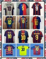 2013 2014 Jersey de football rétro Away Jaune Classic Vintage Football Shirt # 10 Messi Camiseta de futbol 13 14 Xavi Tello Pedro