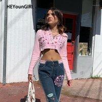 Heyoungirl suor rosa cute y2k colheita top jaqueta mulheres fina outono zipper impresso casacos senhoras moda cascado de manga comprida1