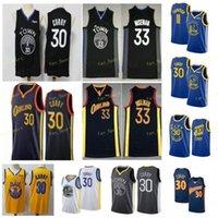 المدينة المكتسبة الطبعة ستيفن 30 كاري كرة السلة الفانيلة Klay 11 Thompson James 33 Wiseman Men Size S-3XL