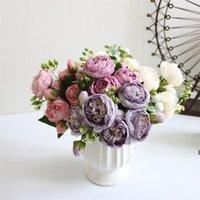 5 cabezas de seda artificial rosa flor racimo plantas ramo falso hogar decoración de la boda jardín floral oficina fiesta fiesta dhe5924