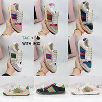 2021 screener sneaker Italia sporco beige burro di burro pelle verde verde vintage righe rosse lussurys designer tela asso casual scarpe classiche angosciate