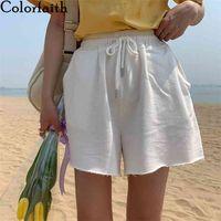 Colorfaith Summer Women Shorts Wide Leg High Elastic Waist Casual Beach Loose joggers Lace Up Shorts Trousers P1948 210616
