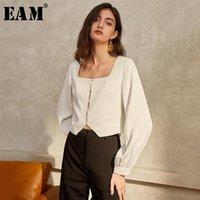[Eam] mulheres temperamento branco blusa curta nova coleira quadrada longa manga folhada camisa frouxa moda maré primavera outono 2021 1T612