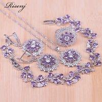 Risenj роскошный фиолетовый циркон листьев маленькая ромашка серебро 925 костюм ювелирные изделия для женщин падение серьги кольцо ожерелье браслет набор