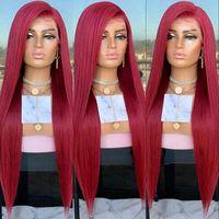 En Çok Satan Kırmızı Renk Ipeksi Düz Sentetik Peruk Dantel Ön Peruk Kadınlar Için PrePlucked Yumuşak Bebek Saç Ile Yumuşak 180% Yoğunluk