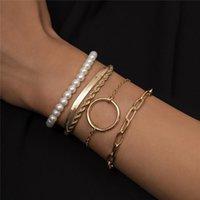 Link, Chain 5pcs set Punk Retro Pearl Bead Round Bracelet Set For Women Gold Silver Color Alloy Geometric Charm Multilayer Bangles