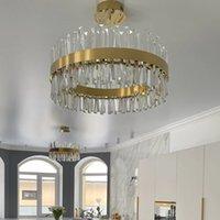 Postmodern light  crystal lamp Nordic modern minimalist living room bedroom round American retro golden l chandelier