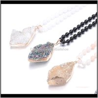 & Pendants Jewelrynatural Semi Precious Stone Necklace Classic Style Round Bead Chain 6Mm 90Cm Diamonds Agates Pendant 30 * 50Mm For Woman Ne