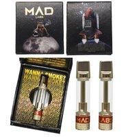MAD LABS vape 카트리지 일회용 카트 510 나사 분무기 0.8ml 골드 카트 세라믹 코일 전자 담배 오일 기화기 카트리지 포장 플랫 메탈 드립 vapes ecig