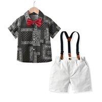 Boys Clothing Sets Baby Suits Children Wear Summer Gentleman Children's Short Sleeve Bow Top Shirt Strap Pants 2Pcs B6721